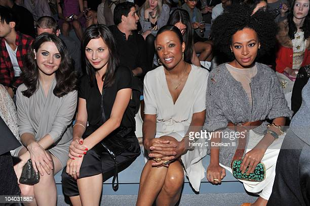 Actress Alison Brie actress Jill Flint actress Aisha Tyler and singer Solange Knowles attend the Max Azria Spring 2011 fashion show during...