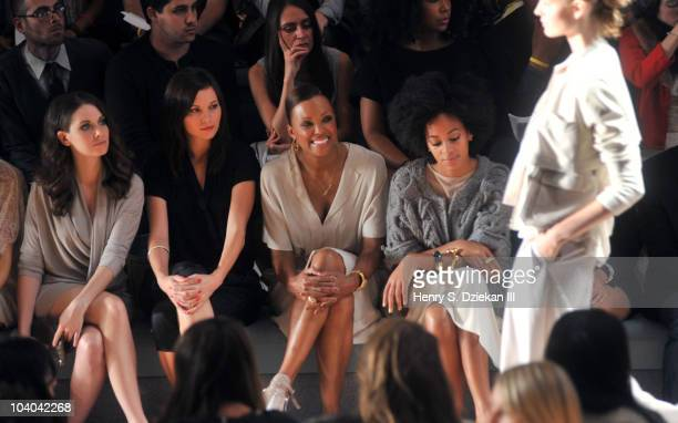 Actress Alison Brie, actress Jill Flint, actress Aisha Tyler and singer Solange Knowles attend the Max Azria Spring 2011 fashion show during...