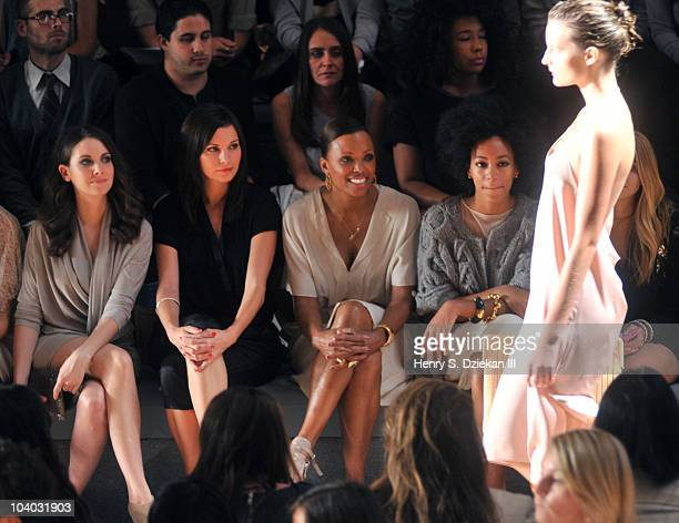 Actress Alison Brie, actress Jill Flint, actress Aisha Tyler and Solange Knowles attend the Max Azria Spring 2011 fashion show during Mercedes-Benz...