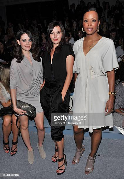 Actress Alison Brie, actress Jill Flint and actress Aisha Tyler attend the Max Azria Spring 2011 fashion show during Mercedes-Benz Fashion Week at...