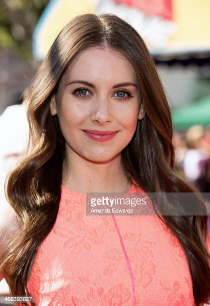 Actress Alison Brie arrives at the Los Angeles premiere of 'The Lego Movie' at the Regency Village Theatre on February 1 2014 in Westwood California