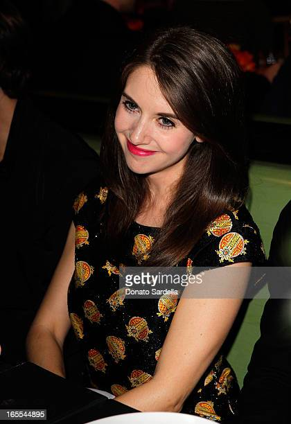 Actress Alison Brie attends Vogue's Triple Threats dinner hosted by Sally Singer and Lisa Love at Goldie's on April 3 2013 in Los Angeles California