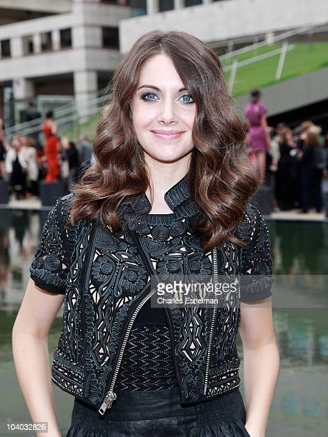 Actress Alison Brie of Mad Men attends the Malandrino Spring 2011 fashion show during MercedesBenz Fashion Week at Grand Promenade Avery Fisher Hall...