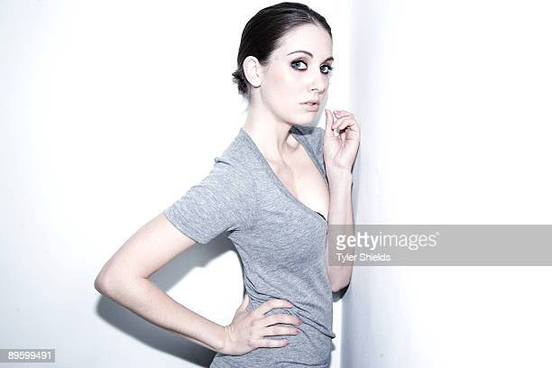 Actress Alison Brie poses at a portrait session.