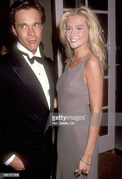 Actress Alison Doody and guest attend the American Ireland Fund's Heritage Award Honoring Maureen O'Hara on November 6 1991 at Regent Beverly...