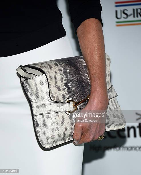 Actress Alison Doody clutch detail arrives at the 2016 Oscar Wilde Awards at Bad Robot on February 25 2016 in Santa Monica California