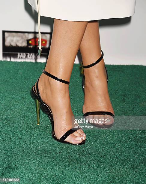 Actress Alison Doody shoe detail at the 2016 Oscar Wilde Awards at Bad Robot on February 25 2016 in Santa Monica California