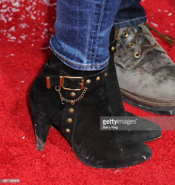 Actress Alison Lohman shoe detail attends premiere of Columbia Pictures' 'The Night Before' at The Theatre At The Ace Hotel on November 18 2015 in...