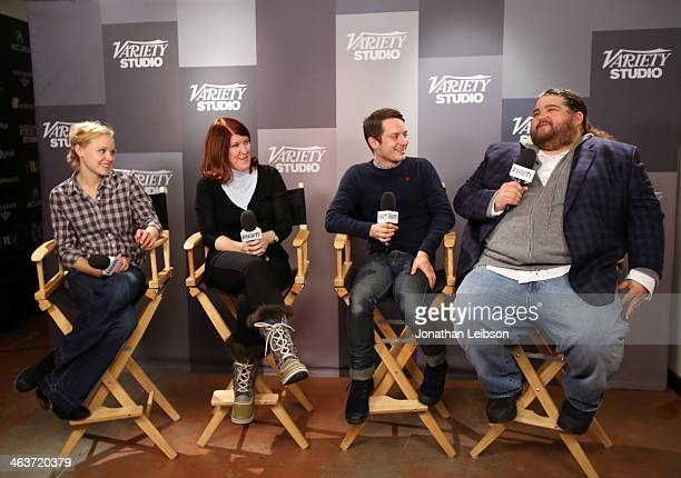 Actress Alison Pill actress Christina Hendricks actor Elijah Wood and actor Jorge Garcia speak at The Variety Studio Sundance Edition Presented By...