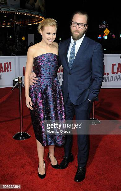 Actress Alison Pill and actor Joshua Leonard arrive for the Premiere Of Universal Pictures' Hail Caesar held at Regency Village Theatre on February 1...