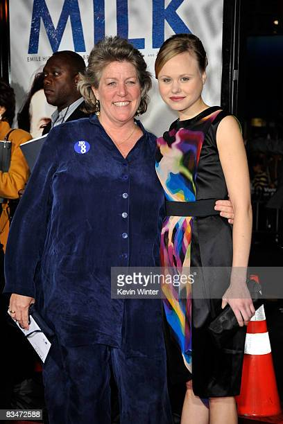 Actress Alison Pill and Anne Kronenberg arrive at Focus Features' world premiere of 'Milk' held at The Castro Theatre on October 28 2008 in San...