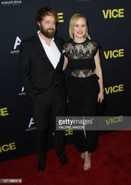 Actress Alison Pill and husband actor Joshua Leonard attend the world premiere of 'Vice' at the AMPAS Samuel Goldwyn theatre in Beverly Hills on...