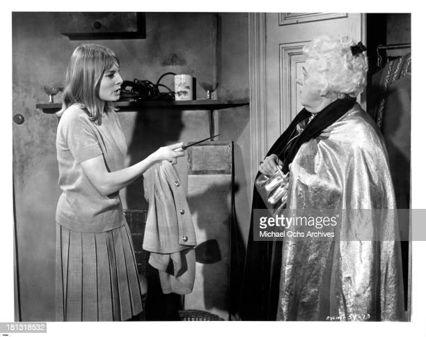 Actress Alison Seebohm and Margaret Rutherford on the set of the movie Murder Most Foul in 1964