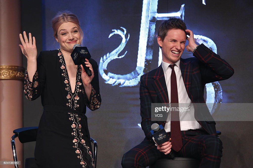 Actress Alison Sudol and actor Eddie Redmayne attend 'Fantastic Beasts And Where To Find Them' press conference at Sanlitun on November 18, 2016 in Beijing, China.