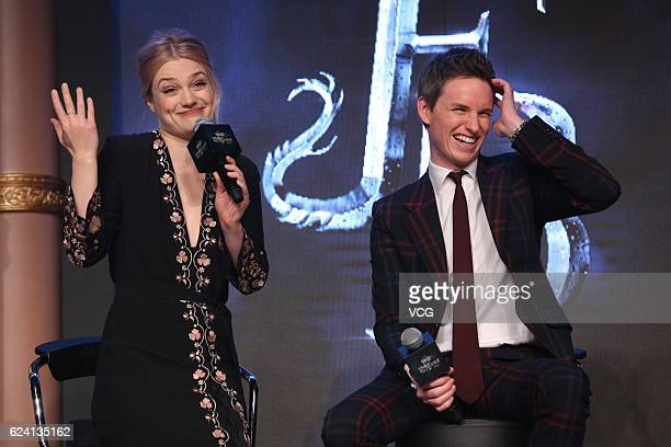 Actress Alison Sudol and actor Eddie Redmayne attend 'Fantastic Beasts And Where To Find Them' press conference at Sanlitun on November 18 2016 in...