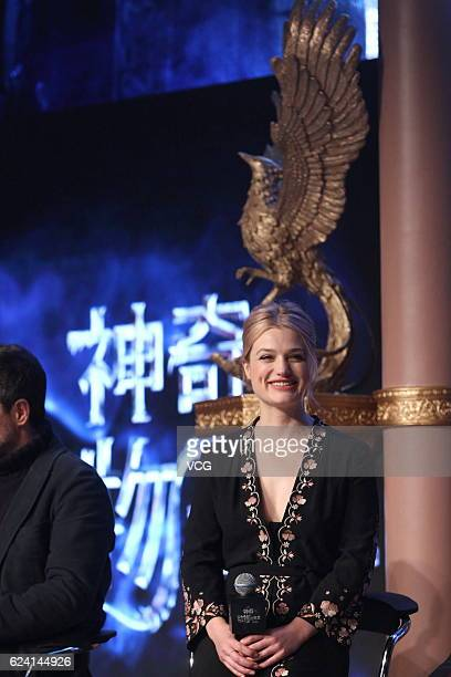 Actress Alison Sudol attends 'Fantastic Beasts And Where To Find Them' press conference at Sanlitun on November 18 2016 in Beijing China