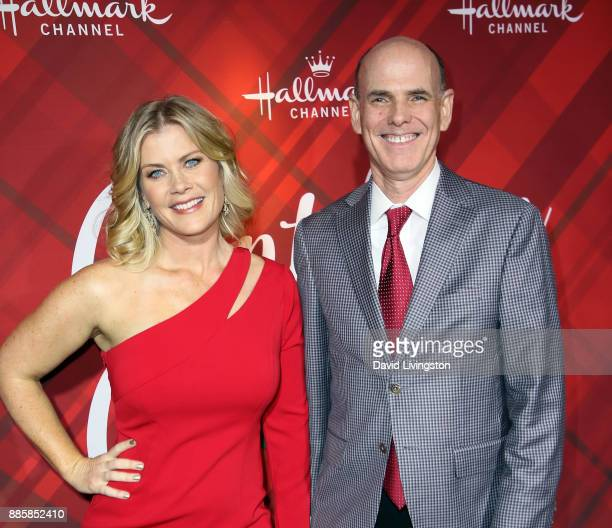 Actress Alison Sweeney and Bill Abbott President and CEO Crown Media Family Networks attend a screening of Hallmark Channel's Christmas at Holly...