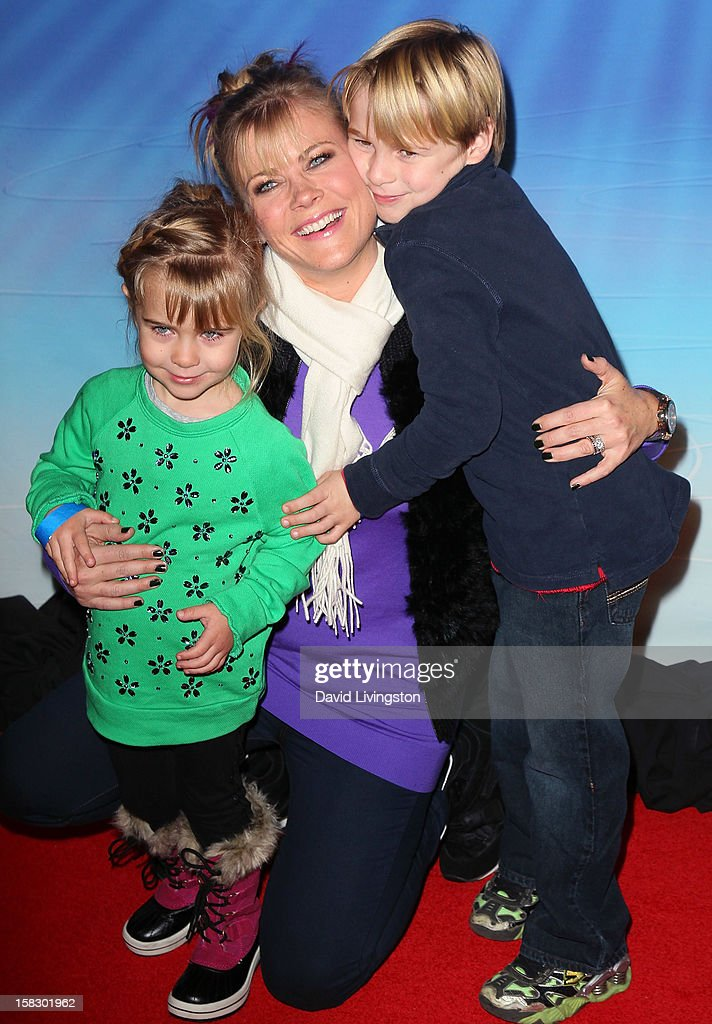 Actress Alison Sweeney and children attend the opening night of Disney On Ice's 'Dare To Dream' at LA Kings Holiday Ice at L.A. LIVE on December 12, 2012 in Los Angeles, California.