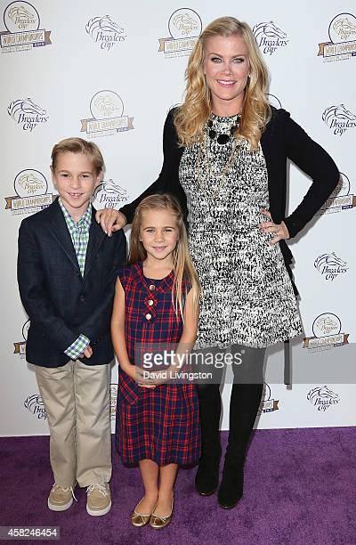 Actress Alison Sweeney and children Benjamin Sanov and Megan Sanov attend the 2014 Breeders' Cup World Championships at Santa Anita Park on November...