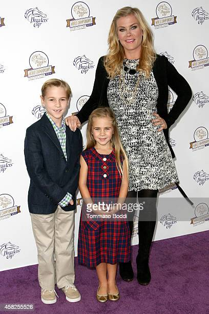 Actress Alison Sweeney and children Benjamin Sanov and Megan Sanov attend the 2014 Breeders' Cup World Championships held at the Santa Anita Park on...