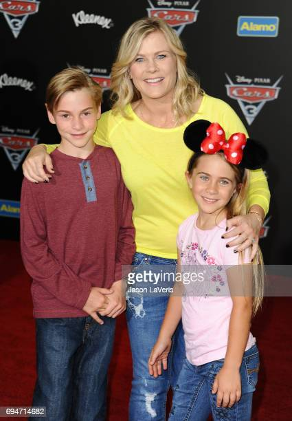 Actress Alison Sweeney and children Benjamin Sanov and Megan Sanov attend the premiere of Cars 3 at Anaheim Convention Center on June 10 2017 in...