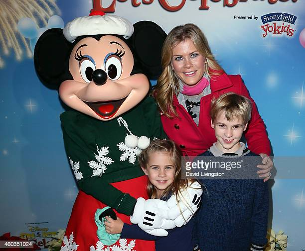 Actress Alison Sweeney and children Megan Sanov and Benjamin Sanov attend Disney On Ice presents Let's Celebrate at Staples Center on December 11...