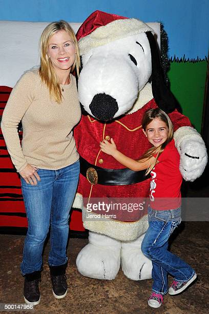 Actress Alison Sweeney and daughter Megan attend Knott's Merry Farm Countdown to Christmas Tree Lighting at Knott's Berry Farm on December 5 2015 in...