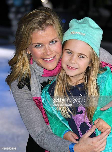 Actress Alison Sweeney and daughter Megan Sanov attend Disney On Ice presents Let's Celebrate at Staples Center on December 11 2014 in Los Angeles...