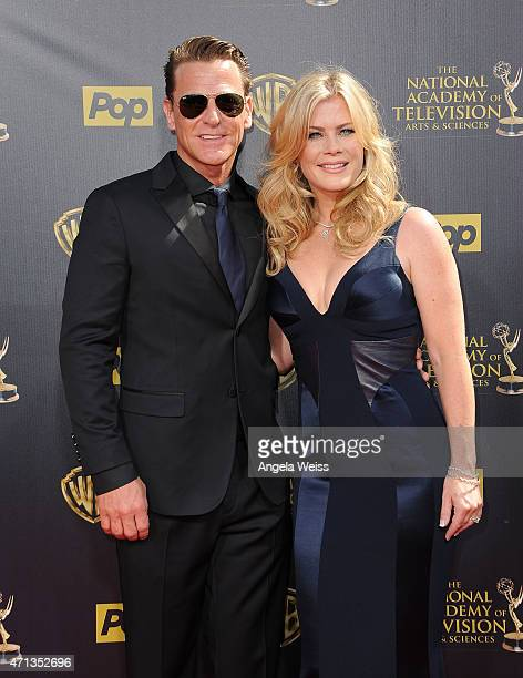 Actress Alison Sweeney and David Sanov arrive at the 42nd Annual Daytime Emmy Awards at Warner Bros Studios on April 26 2015 in Burbank California