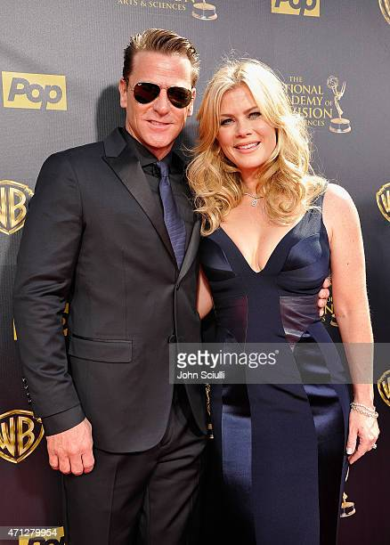 Actress Alison Sweeney and David Sanov attend The 42nd Annual Daytime Emmy Awards at Warner Bros Studios on April 26 2015 in Burbank California
