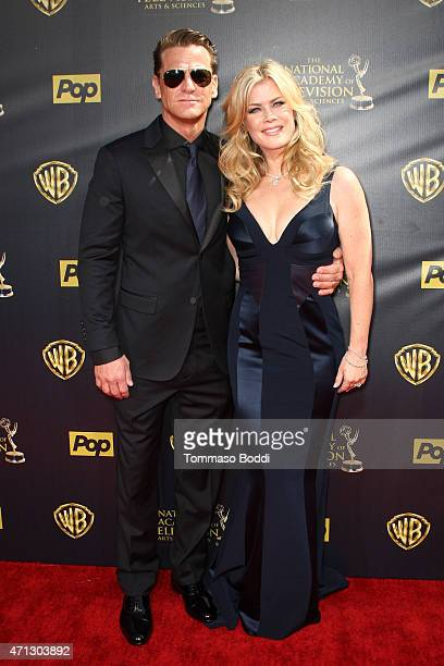 Actress Alison Sweeney and David Sanov attend the 42nd annual Daytime Emmy Awards held at Warner Bros Studios on April 26 2015 in Burbank California