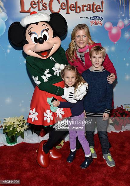 Actress Alison Sweeney and her children Ben Sanov and Megan Hope Sanov attend the Disney On Ice Presents Let's Celebrate event at Staples Center on...