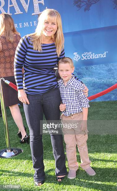 Actress Alison Sweeney and her son Benjamin Edward Sanov arrive at the Brave premiere during the 2012 Los Angeles Film Festival held at Dolby Theatre...