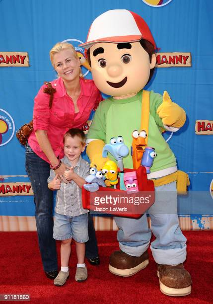 Actress Alison Sweeney and her son Benjamin Sanov attend the premiere of Handy Manny Motorcycle Adventure at ArcLight Cinemas on September 26 2009 in...