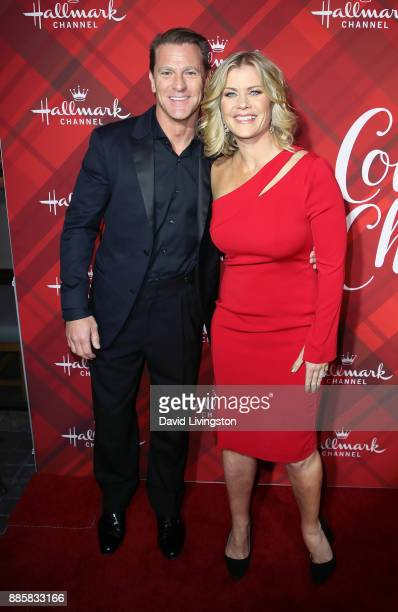 Actress Alison Sweeney and husband David Sanov attend a screening of Hallmark Channel's Christmas at Holly Lodge at The Grove on December 4 2017 in...