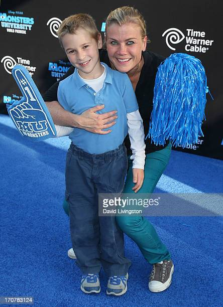 Actress Alison Sweeney and son Ben Edward Sanov attend the premiere of Disney Pixar's Monsters University at the El Capitan Theatre on June 17 2013...