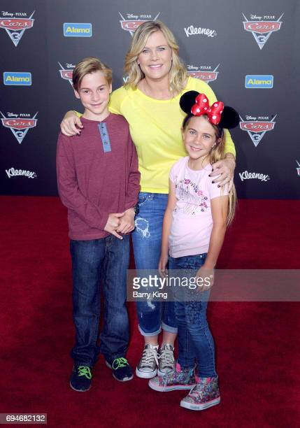Actress Alison Sweeney and son Benjamin Sanov and daughter Megan Sanov attend the World Premiere of Disney and Pixar's 'Cars 3' at Anaheim Convention...