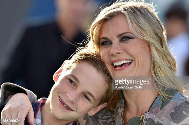 Actress Alison Sweeney and son Benjamin Sanov arrive at the premiere of Disney's 'Pirates of the Caribbean Dead Men Tell No Tales' at Dolby Theatre...