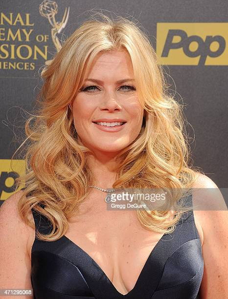 Actress Alison Sweeney arrives at the 42nd Annual Daytime Emmy Awards at Warner Bros Studios on April 26 2015 in Burbank California