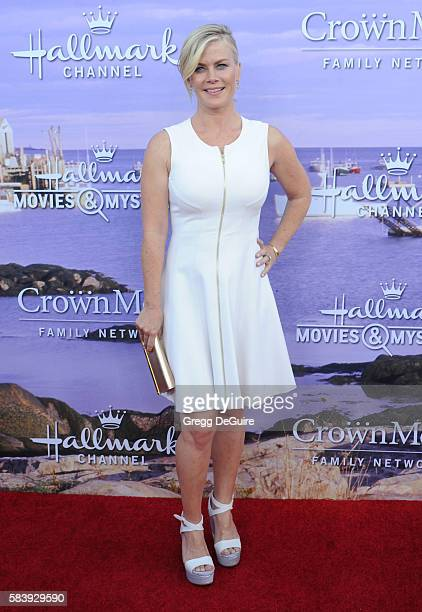 Actress Alison Sweeney arrives at the Hallmark Channel and Hallmark Movies and Mysteries Summer 2016 TCA Press Tour Event on July 27 2016 in Beverly...
