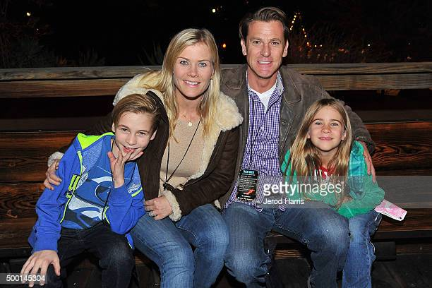 Actress Alison Sweeney husband David Sanov and children Benjamin and Megan attend Knott's Merry Farm Countdown to Christmas Tree Lighting at Knott's...