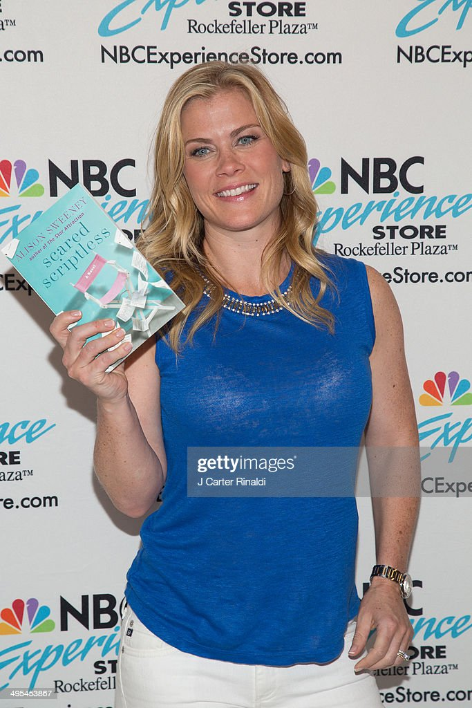 Actress Alison Sweeney Signs Copies Of Her Book 'Scared Scriptless' at the NBC Experience Store on June 3, 2014 in New York City.