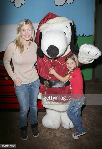 Actress Alison Sweeney Snoopy and Megan Sanov attend Knott's Berry Farm's Countdown To Christmas And Snoopy's Merriest Tree Lighting at Knott's Berry...