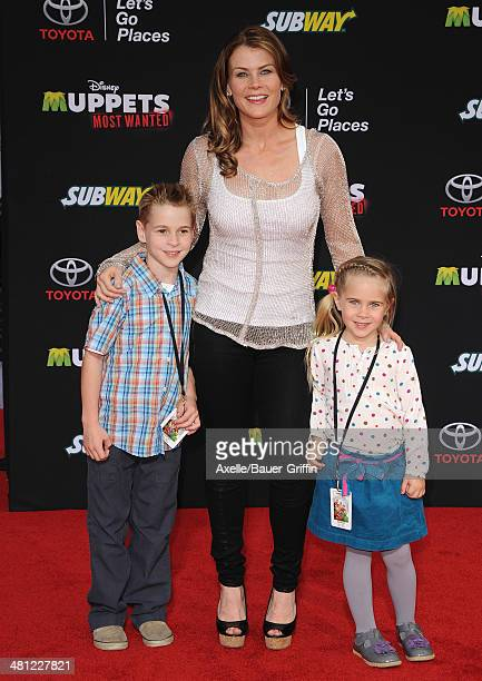 Actress Alison Sweeney son Benjamin Sanov and daughter Megan Sanov arrive at the Los Angeles premiere of 'Muppets Most Wanted' at the El Capitan...