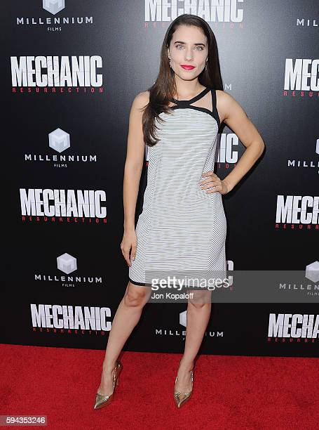 Actress Alix Angelis arrives at the Los Angeles Premiere 'Mechanic Resurrection' at ArcLight Hollywood on August 22 2016 in Hollywood California