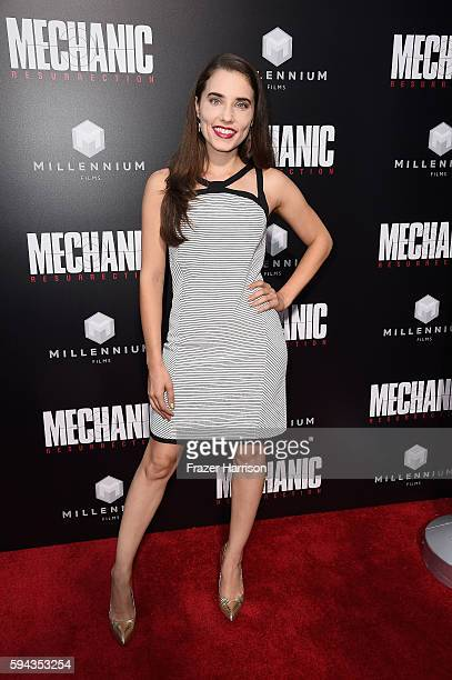 Actress Alix Angelis arrives at the Premiere of Summit Entertainment's Mechanic Resurrection at ArcLight Hollywood on August 22 2016 in Hollywood...
