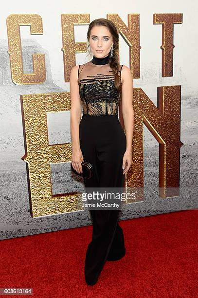 Actress Alix Angelis attends The Magnificent Seven premiere at the Museum of Modern Art on September 19 2016 in New York City