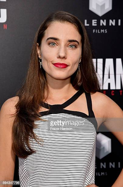 Actress Alix Angelis attends the premiere of Summit Entertainment's Mechanic Resurrection at ArcLight Hollywood on August 22 2016 in Hollywood...