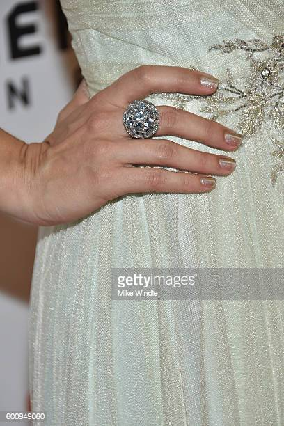Actress Alix Angelis fashion detail attends The Magnificent Seven premiere during the 2016 Toronto International Film Festival at Roy Thomson Hall on...