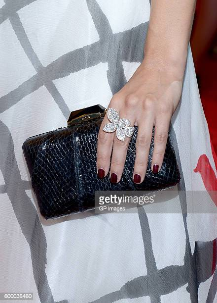 Actress Alix Angelis fashion detail attends the TIFF Soiree during the 2016 Toronto International Film Festival at TIFF Bell Lightbox on September 7...